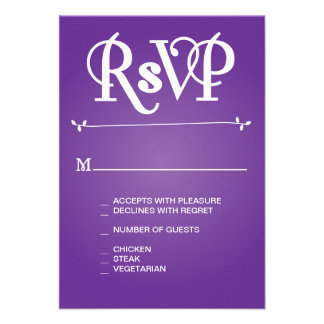 Purple Floral Ampersand RSVP Personalized Invites