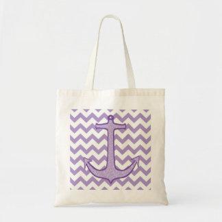 Purple Floral Anchor on Chevron Canvas Bag