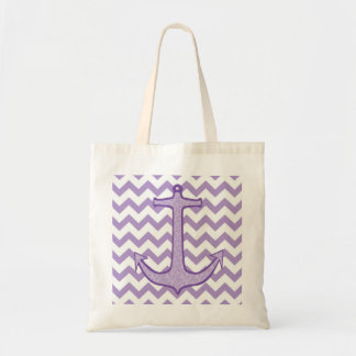 Purple Floral Anchor on Chevron Tote Bag