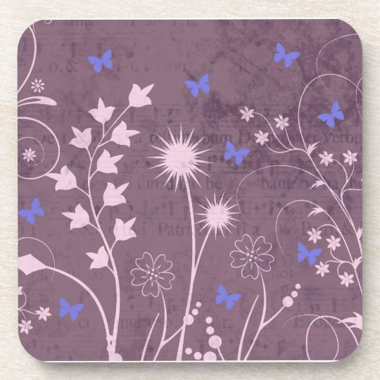 Purple Floral and Buttefly Set of 6 Coasters