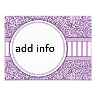 purple floral and striped invitations