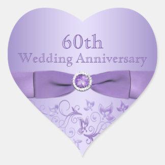 Purple Floral Anniversary Heart Shaped Sticker