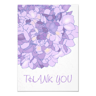 Purple Floral Art Thank You Flat Notes 3.5x5 Paper Invitation Card