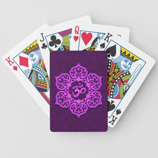 Purple Floral Aum Design Bicycle Playing Cards