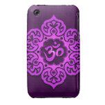 Purple Floral Aum Design Case-Mate iPhone 3 Cases