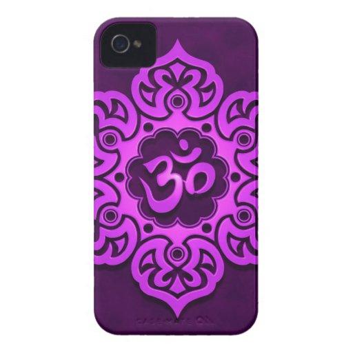 Purple Floral Aum Design iPhone 4 Covers