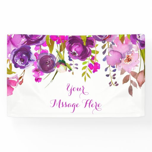 Purple Floral Baby Shower Banner