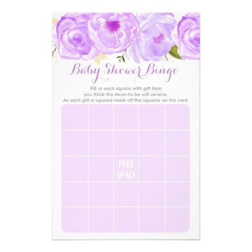 Purple Floral Baby Shower Bingo Game Flyer