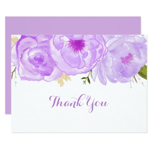Purple Floral Baby Shower Thank You Card
