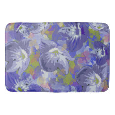 Purple Floral Bathroom Mat at Zazzle