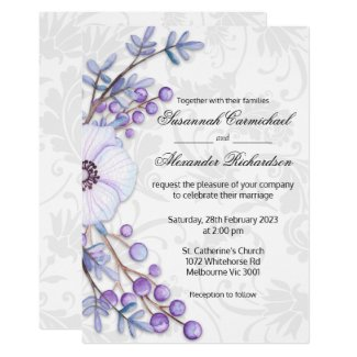 Purple Floral Berries and Damask Wedding Invitation