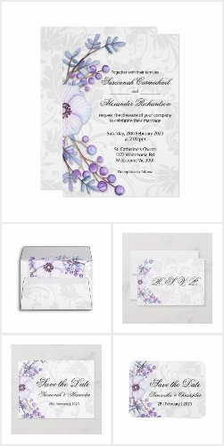 Purple Floral Berries and Grey Damask