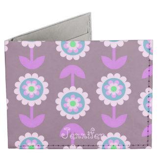 Purple Floral Bifold Wallet Billfold Wallet
