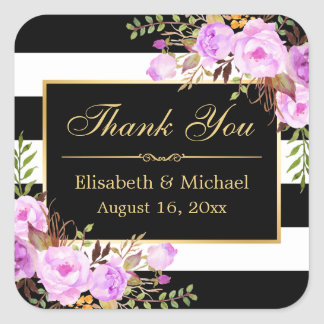 Purple Floral Black White Striped Gold Thank You Square Sticker