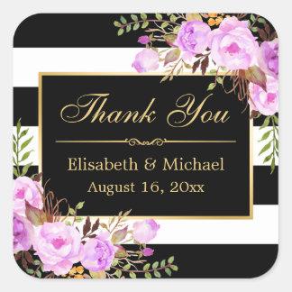 Purple Floral Black White Striped Gold Thank You Square Sticker