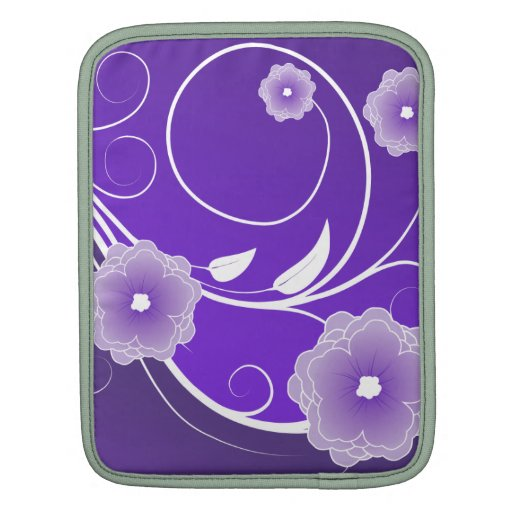 Purple Floral Blossoms & Swirls iPad Sleeves