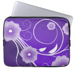 Purple Floral Blossoms & Swirls Laptop Computer Sleeves