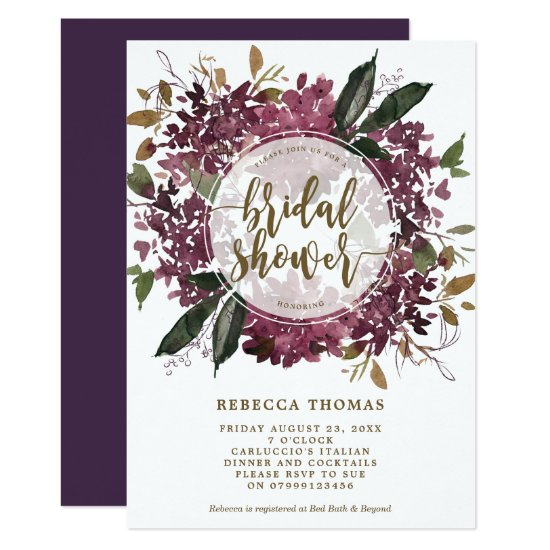 purple floral botanical bridal shower invitation