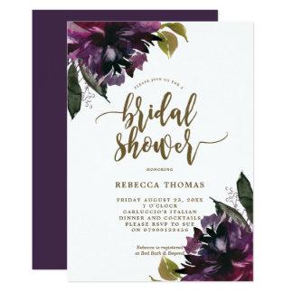 purple floral botanical bridal shower invitation