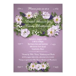 Purple Floral Bouquet Bridal Wedding Shower Card