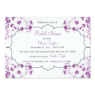 Purple Floral Bridal Invitation