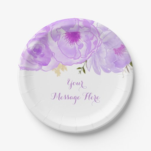 Purple Floral Bridal Shower Paper Plate