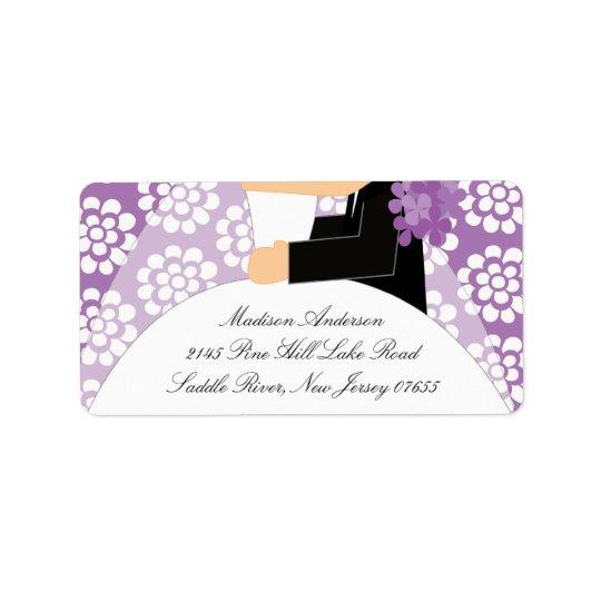 Purple Floral Bride & Groom Return Address Label