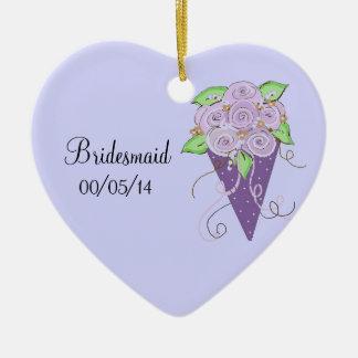 Purple Floral Bridesmaid Bouquet Ceramic Ornament