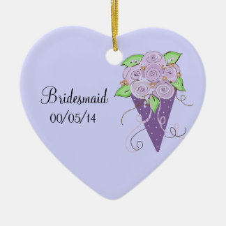 Purple Floral Bridesmaid Bouquet Double-Sided Heart Ceramic Christmas Ornament