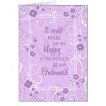Purple Floral Bridesmaid Invitation Card