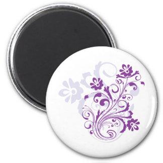 Purple Floral Burst Refrigerator Magnets