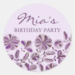 Purple Floral Burst Sticker