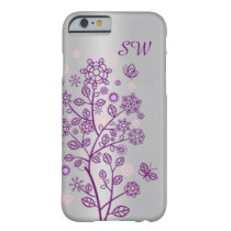 Purple floral, butterfly on silver barely there iPhone 6 case