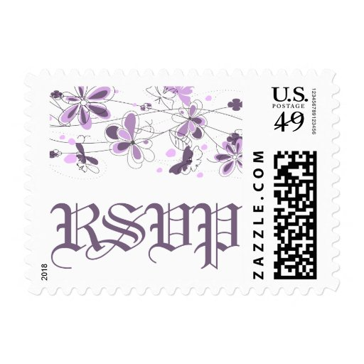 Purple Floral Butterfly RSVP Postage Stamps