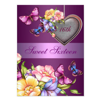 Purple Floral Butterfly Sweet16 Birthday Invite