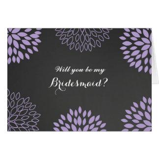Purple Floral Chalkboard Be My Bridesmaid Card