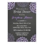 "Purple Floral Chalkboard Bridal Shower Invitation 5"" X 7"" Invitation Card"