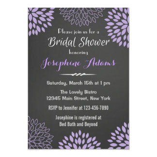 Purple Floral Chalkboard Bridal Shower Invitation Announcement
