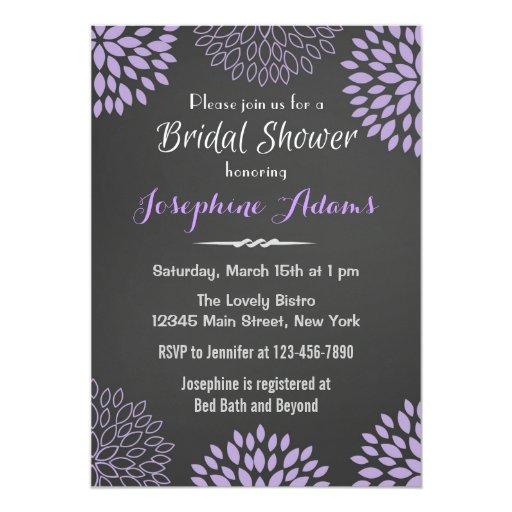 Purple Floral Chalkboard Bridal Shower Invitation