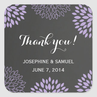 Purple Floral Chalkboard Thank You Stickers