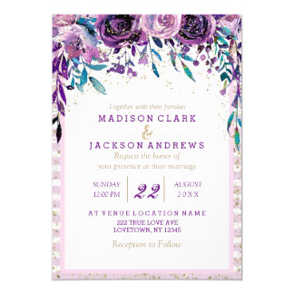 purple floral champagne gold wedding invitations - Wedding Invitations Purple