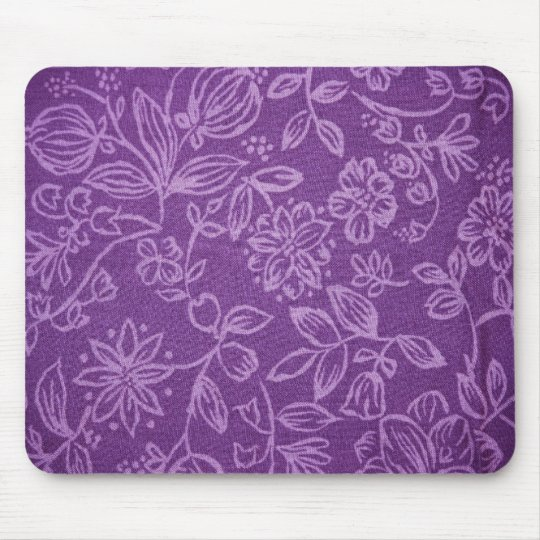 Purple Floral Cloth Effect Mouse Pad