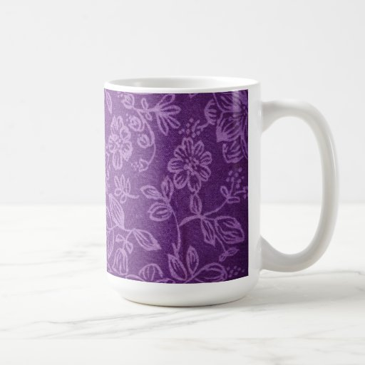 Purple Floral Cloth Effect Mugs