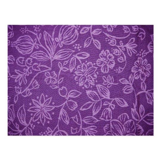 Purple Floral Cloth Effect Postcard