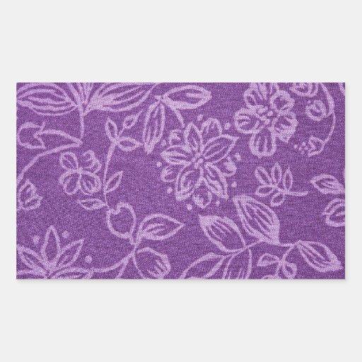 Purple Floral Cloth Effect Rectangular Sticker