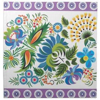 Purple Floral Cloth Napkins