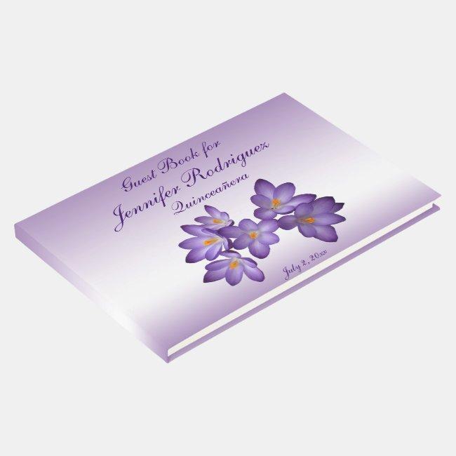 Purple Floral Crocus Flower Quinceañera Guest Book