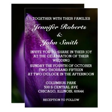 Beach Themed Purple Floral Crocus Flower Wedding Invitation