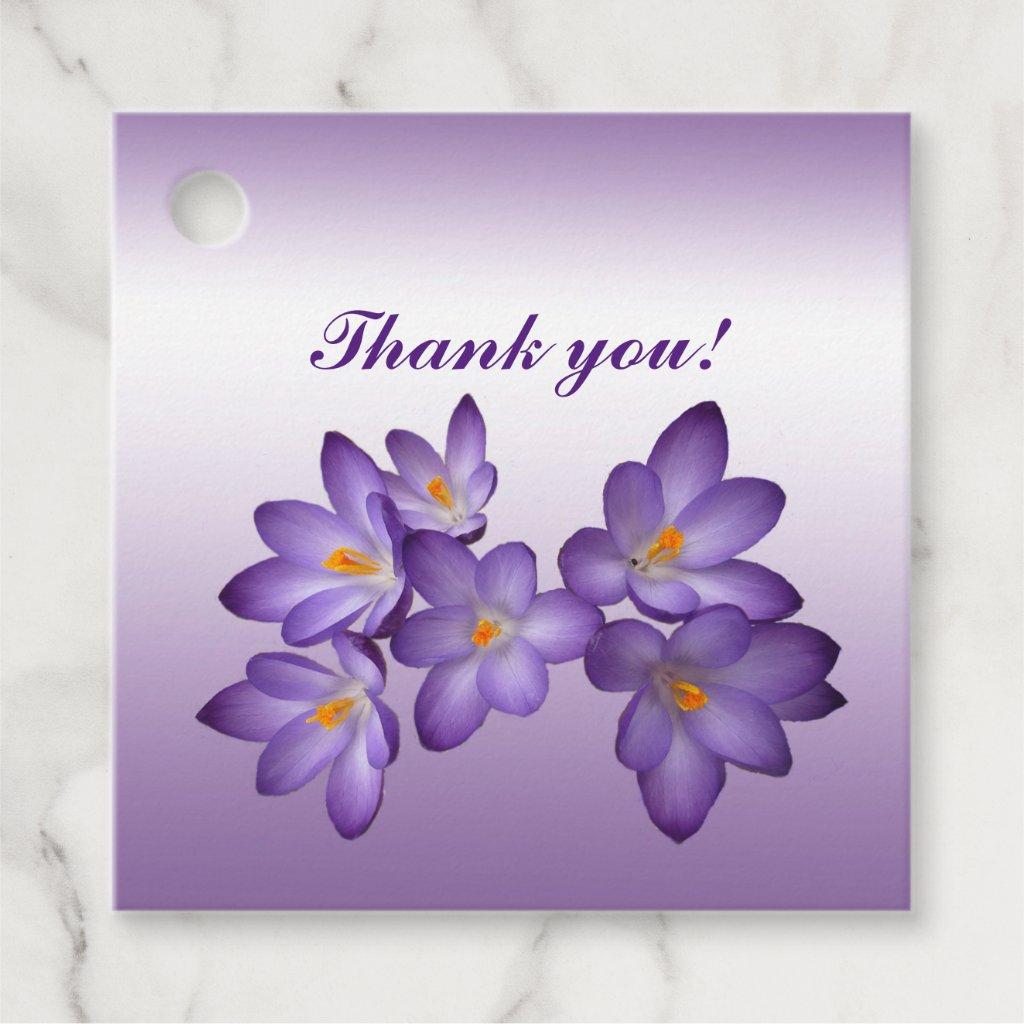 Purple Floral Crocus Flowers Thank You Favor Tags