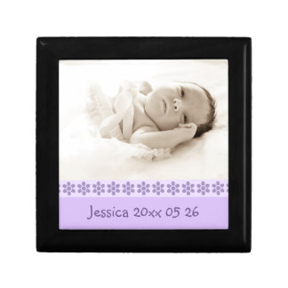 Purple Floral Custom Baby Photo Keepsake Giftbox Gift Box
